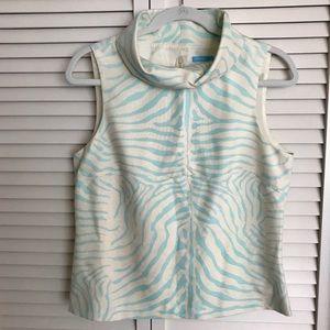 J McLaughlin Silk Top Blue Zebra w back zip